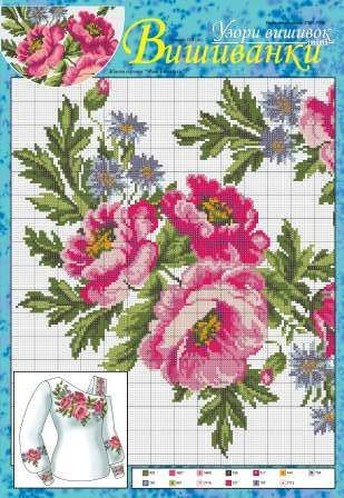 Amazing floral cross stitch patterns for women's shirts and dresses. In my culture such shirts are called vyshyvankas but I think these great ornaments can be used to decorate any item of clothing. Source: http://dianaplus.eu/cross-stitch-patterns-mini-edition-embroidered-shirts-issue-11519-p-6626.html