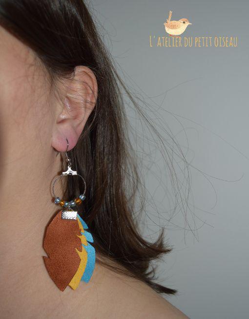 Boucles d'oreilles créoles plumes Guêpier d'Europe - L'atelier du petit oiseau
