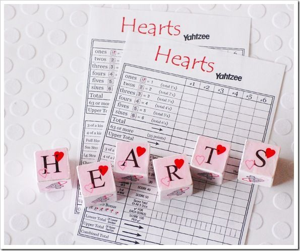 Valentines Yahtzee Game ~free printables for dice & cards~