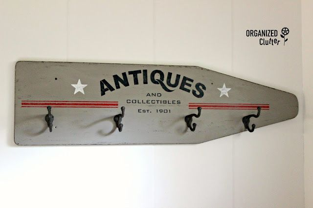Organized Clutter: Ironing Board Repurpose with Old Sign Stencils & Plaid Layering Block
