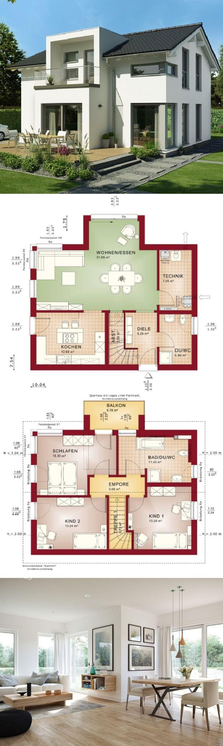 Modernes Design Haus mit Satteldach Architektur & Querhaus mit Loggia – Einfamilienhaus modern Grundriss Fertighaus Edition 3 V2 Bien Zenker Einfamili…
