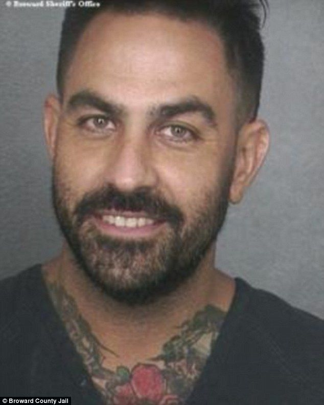 Jail: Chris Nunez from the reality show Ink Master smiled as he had his mugshot taken for DUI