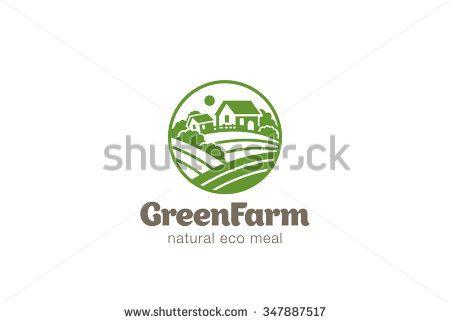 Eco Green Farm Circle Logo design vector template.  Natural Organic food Logotype concept icon.