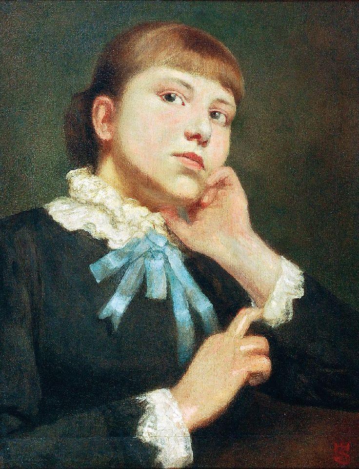 Stanisław WYSPIAŃSKI (1869-1907)  Portret Beaty Matejkówny olej, płótno dublowane, 57 x 44 cm; sygn. p. d.: SW (monogram wiązany)