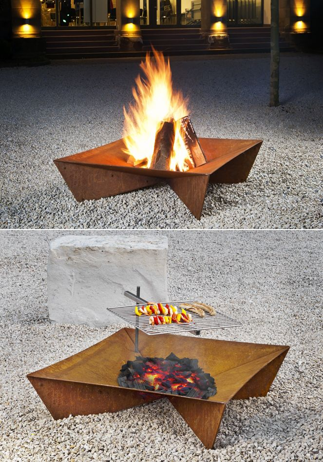 Contemporary Outdoor Fire Grate by Peter Keilbach, a designer from the UK. It'll look attractive in the garden, and can be used as a grill.