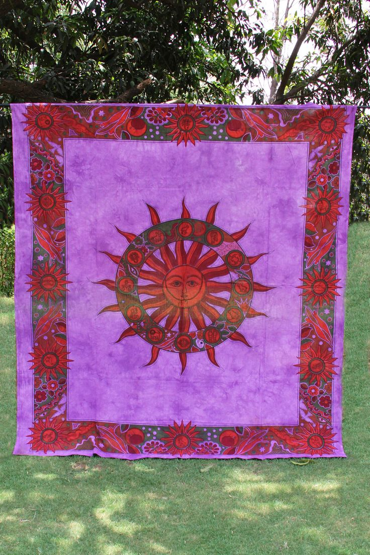 Beautiful Zodiac and Sun Purple Authentic Indian Tapestry