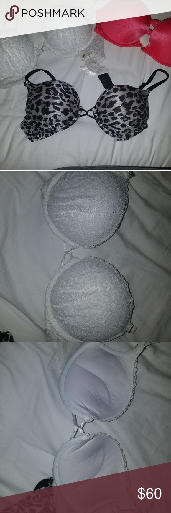Victoria's Secret Bra Bundle!! Bomb Shell leopard print bra size 34B Great condition and brings your breast cup size up about 2 cups ! Gives you amazing cleavage!  Bomb Shell White Laced bra Size 34B Great condition and brings your breast cup size up about 2 cups ! Gives you amazing cleavage!  Very Sexy Push up Razer back front open and close bra. Such a beautiful Bra to wear with an open back shirt or tank top has such a nice back with gold accessory charms Size 34C this bra is very…
