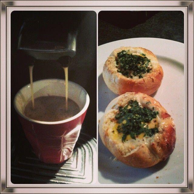 Coffee and breadeggs.