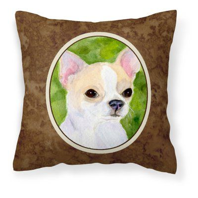 Carolines Treasures Chihuahua on Green Background Decorative Outdoor Pillow - SS8786PW1414