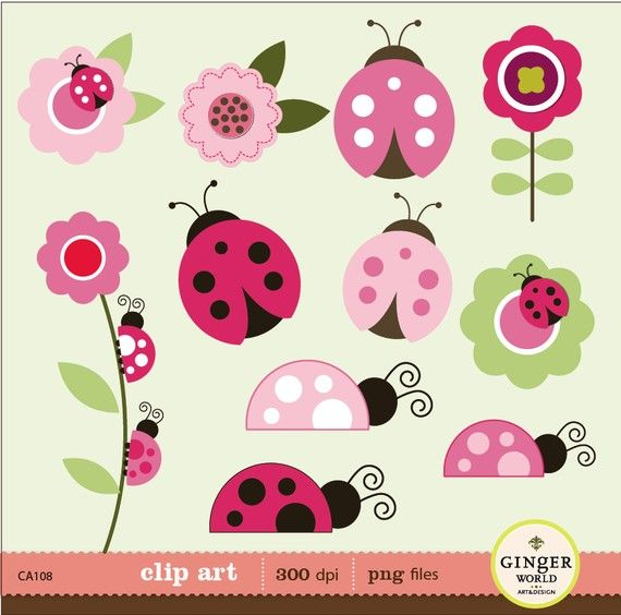 Pink Ladybug garden clip art digital file illustration for scrapbooking, invites