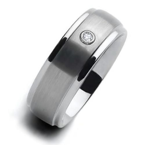 Matte Finish CZ Diamond Beveled Mens Tungsten Ring Wedding Band 8mm