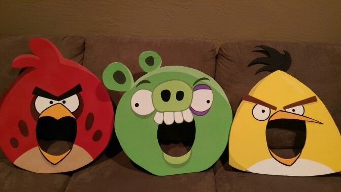Angry Birds photo booth props. Foam core from Dollar Tree. Hand drawn faces based on AB costumes seen online.