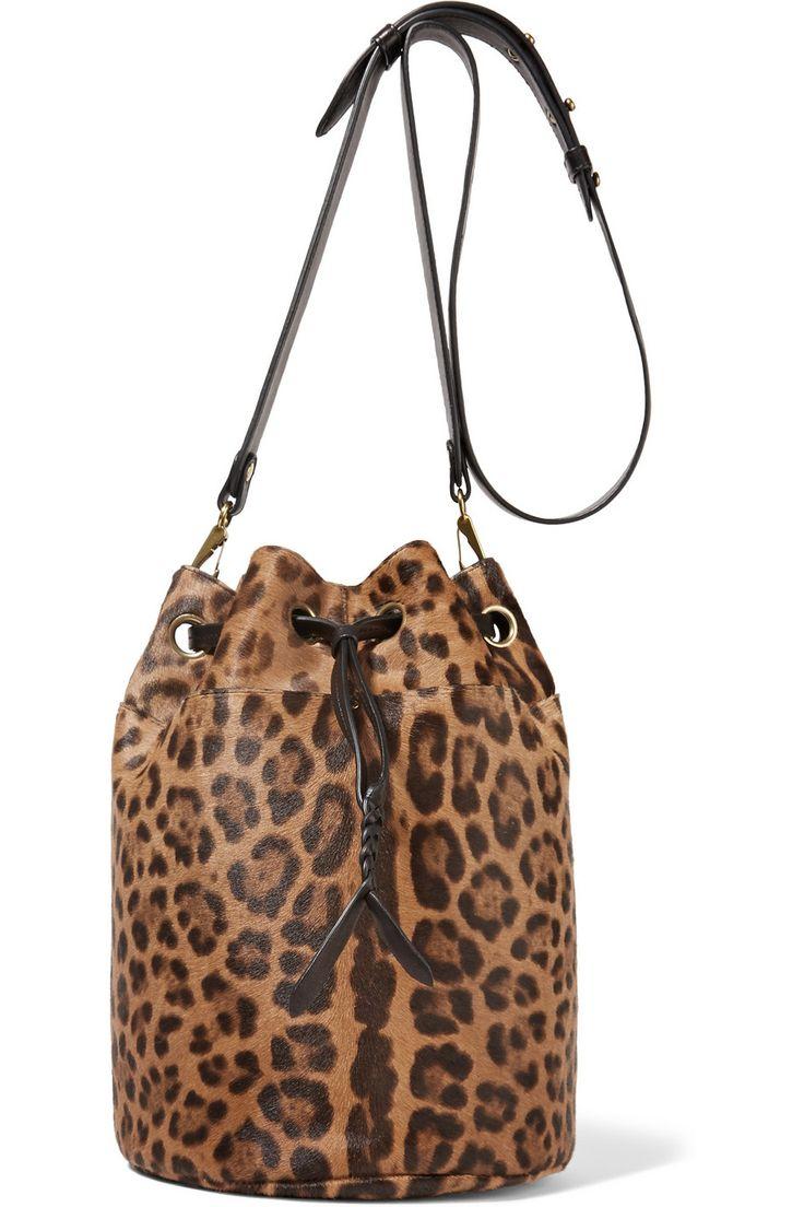 Жером Дрейфус | Попай кожаной отделкой леопард печать икры волос сумка | NET-A-PORTER.COM