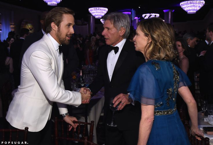 Ryan Gosling shook hands with Harrison Ford as his wife, Calista Flockhart, looked on.