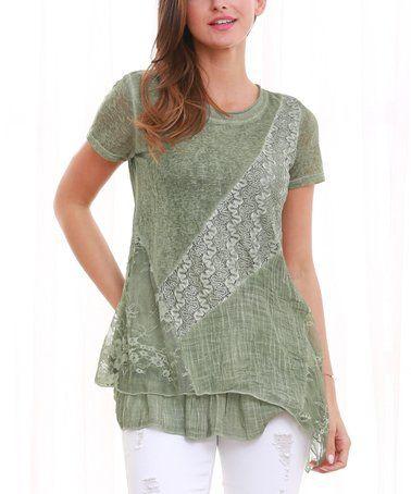 91c73fbc Love this Green Short-Sleeve Ruffle-Layer Tunic - Women & Plus on #zulily! # zulilyfinds