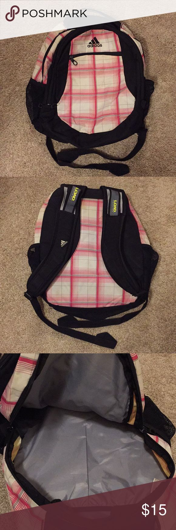 Adidas Plaid Backpack Pink and white plaid with bl…