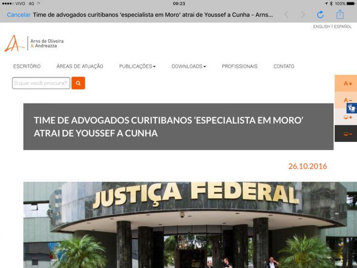 """O site do escritório Arns de Oliveira Andreazza traz na página principal matéria do jornal Gazeta, de Curitiba, sobre a nova especialidade dos advogados locais: """"Time de advogados curitibanos…"""