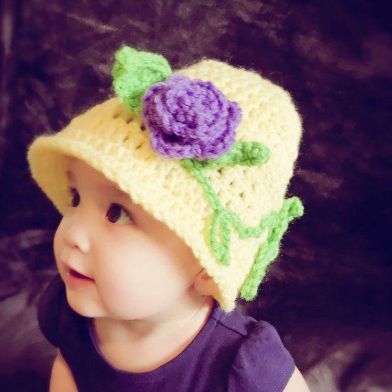 Crochet Cloche Hat with purple rose
