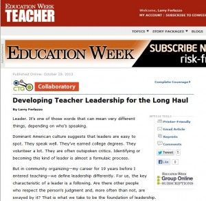 """New Article: """"Developing Teacher Leadership for the Long Haul"""""""