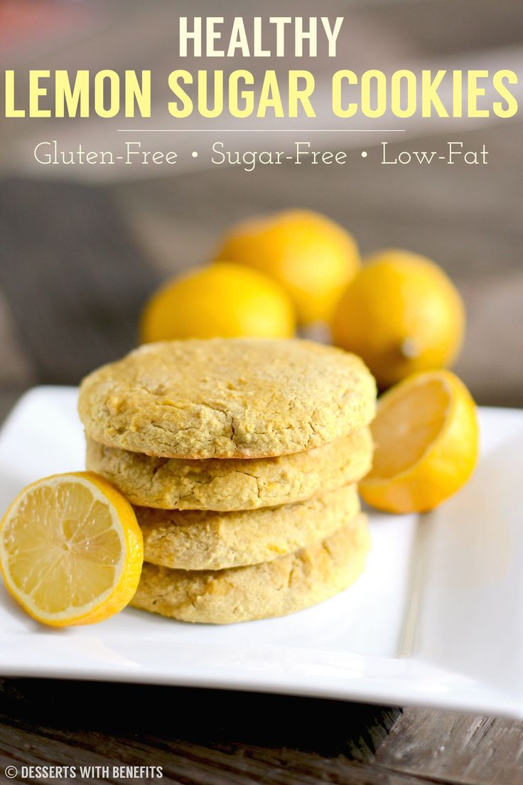 Healthy Gluten Free Lemon Sugar Cookies (sugar free, low fat) - Healthy Dessert Recipes at Desserts with Benefits