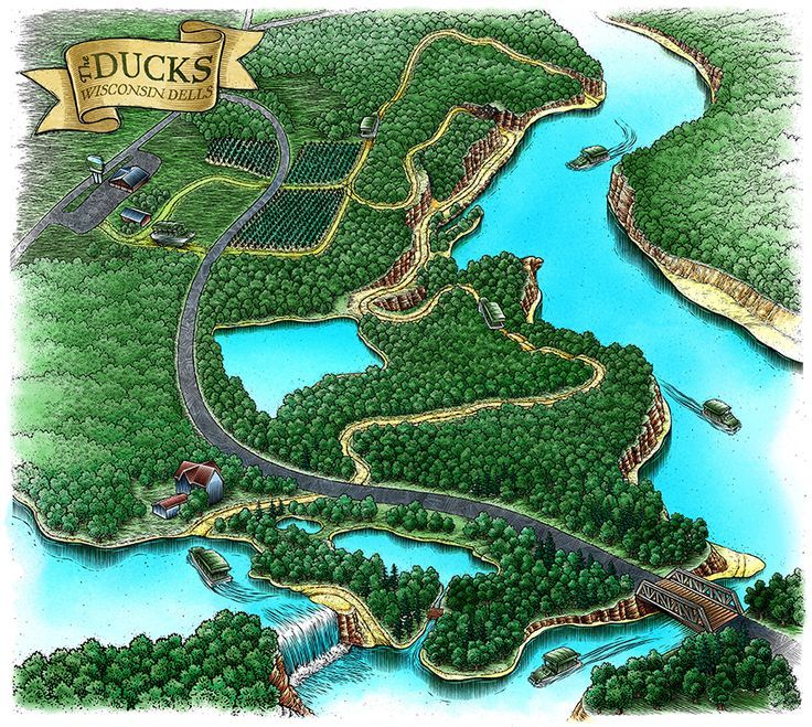 Land and water map for the Dells