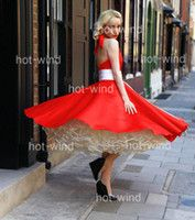 Wholesale Hot wind Sexy Red Bridal Gowns Halter Sweetheart Backless A Line Tea Length Short Satin and Tulle Beach Wedding Dresses BO3247