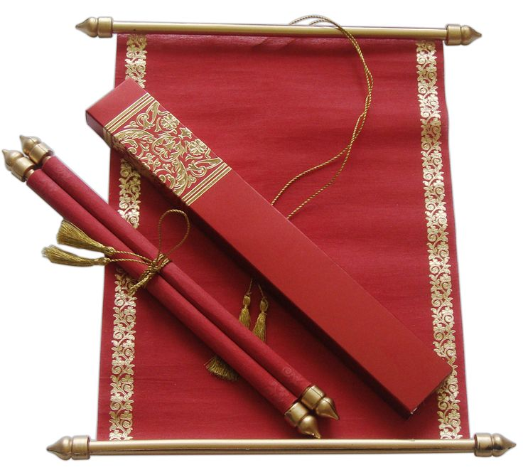 cinderellthemed wedding scroll invitations%0A S     Red Color  Shimmery Finish Paper  Scroll Invitations  Jewish  Invitations  Only