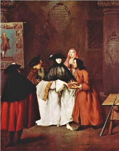 Pietro Longhi (Venetian painter, 1701-1785)  The Fortune Teller Detail