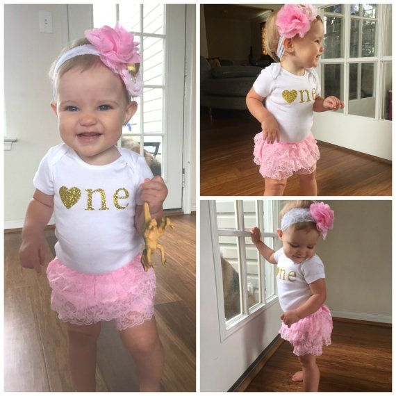 Pink and Gold First Birthday Outfit...First by SweetChubbyCheeks