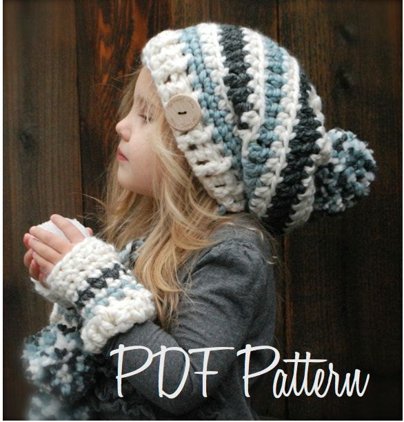 Crochet PATTERN-The Feyona Cap/Mitt Set (Toddler, Child and Adult sizes). $5.50, via Etsy.