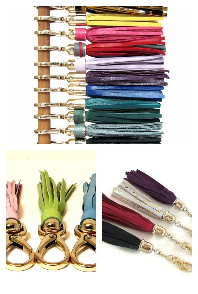 Leather Tassels - Colorful tassels make fun keychains and are great for dressing up handbags too! #tassels