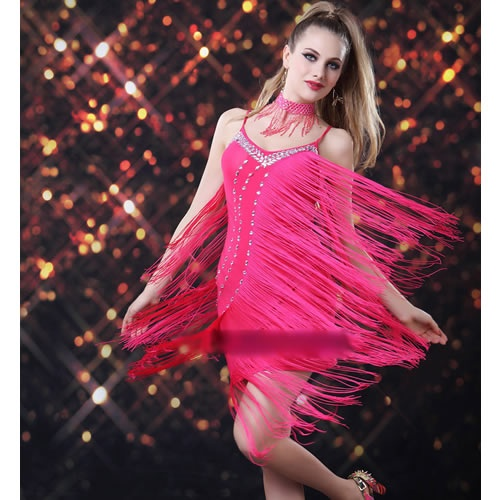 Hot Pink Flapper Backless Roaring 20s Style Cocktail Party Dress Cheap  SKU-401184