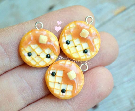 Kawaii Waffle Charm - Polymer Clay Charm, Miniature Food Jewelry, Kawaii food, Breakfast Jewelry, Kawaii Charms, Polymer Clay Food, Cute