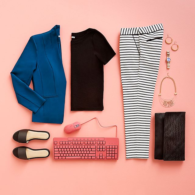 Take your work style to the next level. #WorkWear #WorkStyle #Keyboard #Stripes #Flatlay