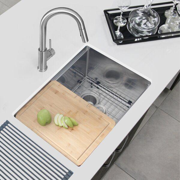 Single Bowl 16g Reversible Workstation 25 L X 19 W Undermount Kitchen Sink With Basket Strainer Undermount Kitchen Sinks Sink Top Mount Kitchen Sink