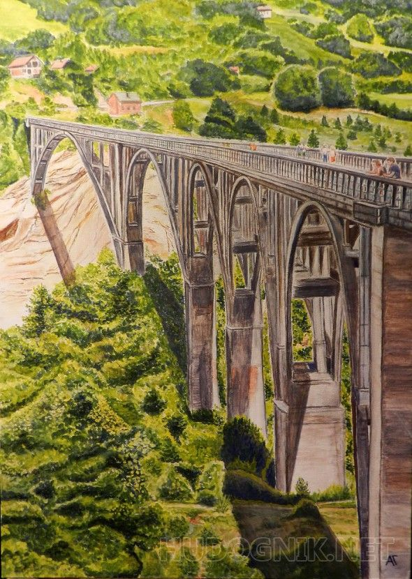 Мост Мост над каньоном, темпера, холст на картоне.
