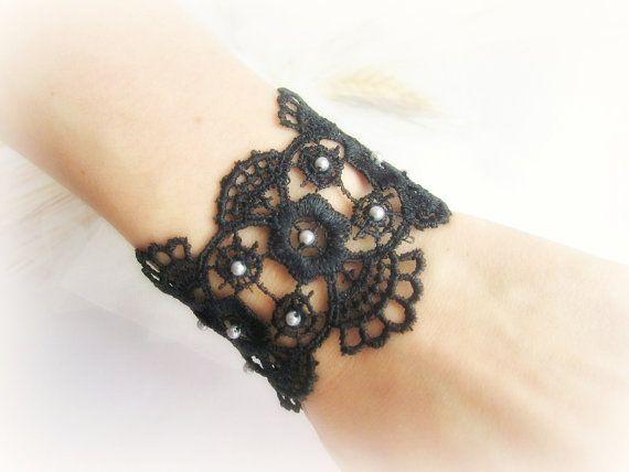 Embroidered black lace bracelet weddingbridal by MalinaCapricciosa