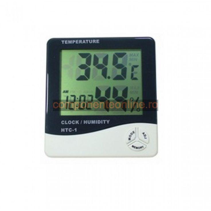 Termometru, ceas si higrometru, cu afisaj LCD, HTC1 - 110948