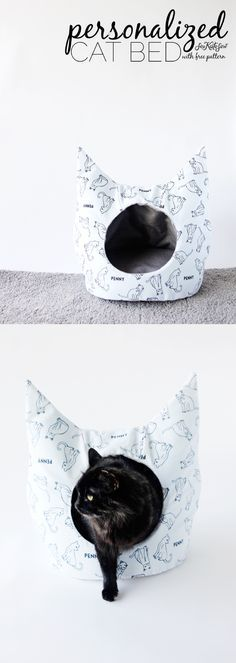 DIY Cat Bed Sewing Pattern with Personalized Fabric from /joannstores/ | See Kate Sew