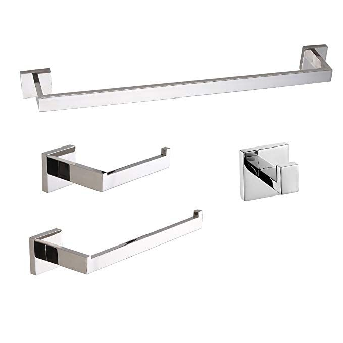 Luckin 4pcs Bathroom Hardware Set Stainless Steel Chrome Polished Towel Bar Set Wall Moun Bathroom Hardware Modern Bathroom Accessories Bathroom Hardware Set
