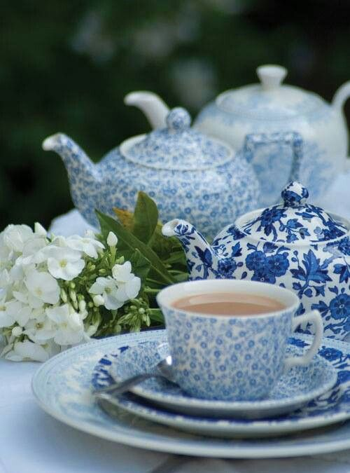 I love mismatched teacups and teapots in the same hues.