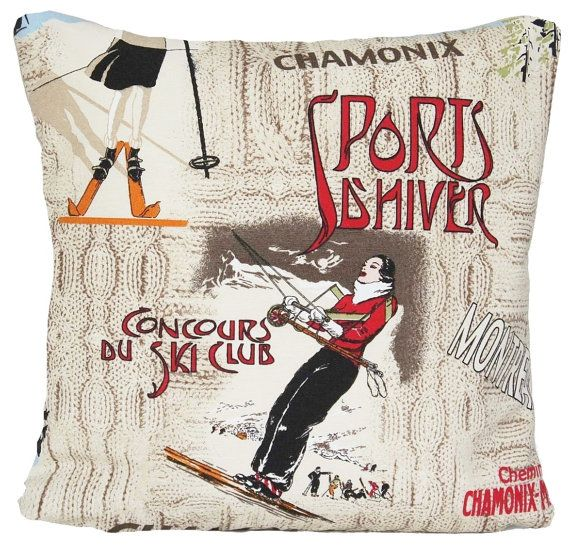 Ski Club Design Cushion Cover Winter by CoralHomeAccessories