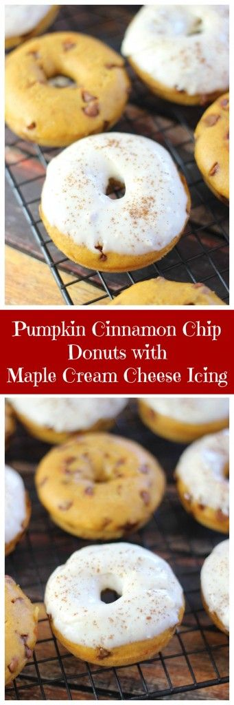 Baked Pumpkin Donuts with Cinnamon Chips with creamy Maple Cream Cheese Glaze!