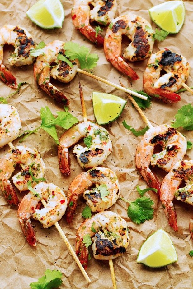 Grilled Cilantro Lime Shrimp Skewers that are perfect for grilling ...