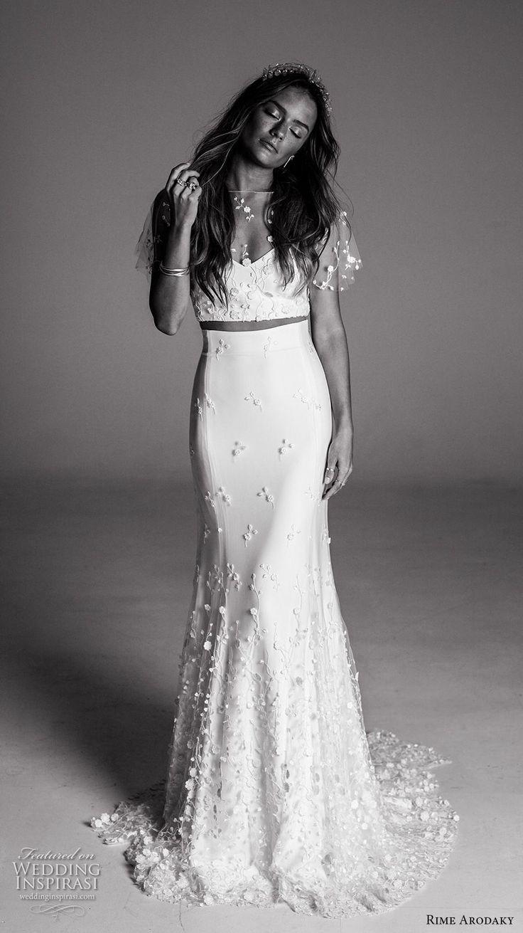 crop top two piece wedding dresses 2 piece wedding dresses Rime Arodaky Fall Wedding Dresses