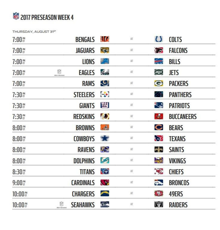 NFL 2017 Preseason Schedule: Pro Football starts on Thursday August 3, 2017 by Hall of Fame Game. NFL Preseason Week 1 will starts on Wednesday August 9, 2017