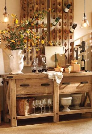 beautiful wine rack | pottery barn...totally love this wine rack and buffet, now to make a pottery barn knock off!