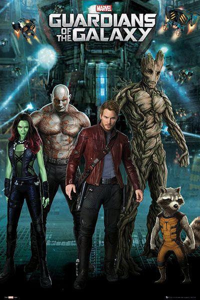 Póster Guardianes de la Galaxia. Grupo Estupendo póster con la imagen de los protagonistas de la nueva película de Marvel Guardianes de la Galaxia