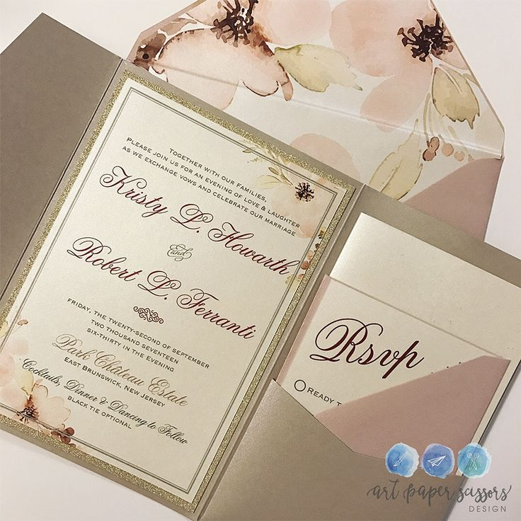 second wedding invitations wording%0A Elegant rose and champagne wedding invitations with watercolor lilies  statement envelope liner and monogrammed tag