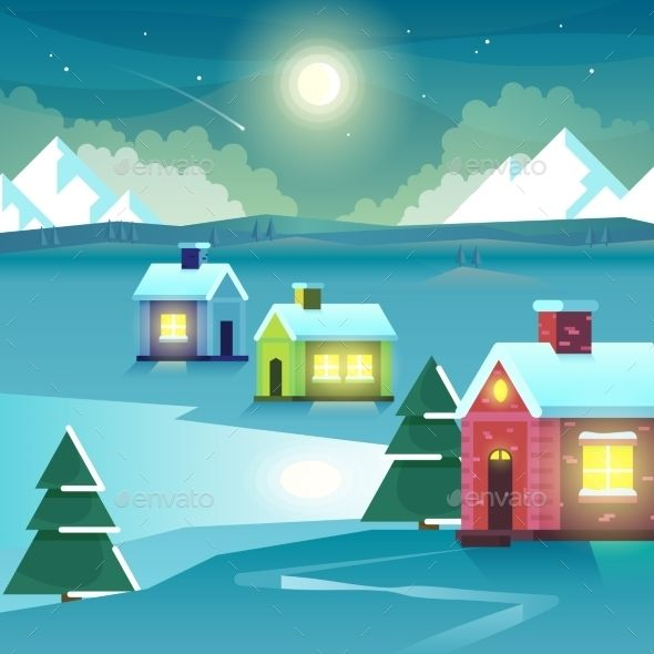 Winter Night Mountains And Houses. Vector Part 89